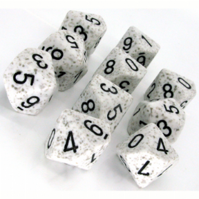 White & Grey 'Arctic Camo' Speckled D10 Ten Sided Dice Set